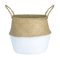 Flower Planter Pots - Tonga Seagrass Planter Basket Natural & White (38Dx33cmH)