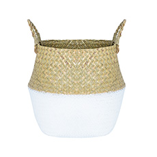 Flower Planter Pots - Tonga Seagrass Planter Basket Natural & White (27Dx26cmH)
