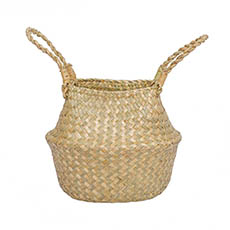 Flower Planter Pots - Tonga Seagrass Planter Basket Natural  (23Dx20cmH)