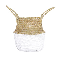 Flower Planter Pots - Tonga Seagrass Planter Basket Natural & White (23Dx20cmH)