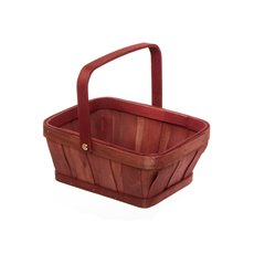 Bamboo Basket Stripe Rectangle Red (23x17.5x21cmH)