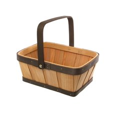 Two Tone Wood Basket Rectangle Natural & Brown (25x19x10cmH)
