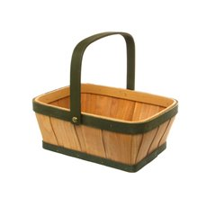 Two Tone Wood Basket Rectangle Natural & Green (25x19x10cmH)
