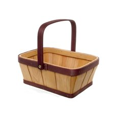 Two Tone Wood Basket Rectangle Natural & Red (25x19x10cmH)