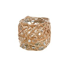 Willow Planter with Glass Pot Square Natural (12x12x12cmH)
