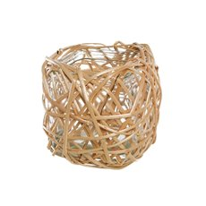Willow Planter with Glass Pot Square Natural (14x14x14cmH)