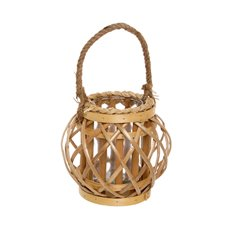 Lantern Willow Round w/Glass Holder 14Dx17cmH Natural
