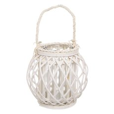 Lantern Willow Round w/Glass Holder (14Dx23cmH) White