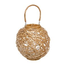 Willow Woven Lantern with Glass Holder (30x30cmH) Natural