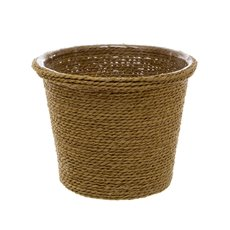 Woven Planter Pot with PVC Liner Olive Green (13x13x12cmH)