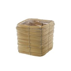 Planter Basket Square Natural (15cmDx14cmH)
