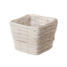 Flower Planter Pots - Planter Basket Square White Wash (15cmDx14cmH)