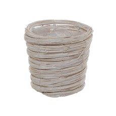 Planter Basket Round Whitewash (17cmDx15.5cmH)
