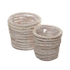 Planter Basket Round Set of 2 Whitewash (18cmDx15cmH)