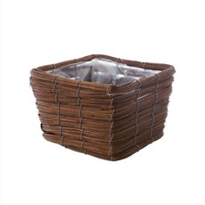 Planter Basket Square Natural Brown (20x20x14cmH)