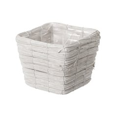 Planter Basket Square Whitewash (20x20x14cmH)