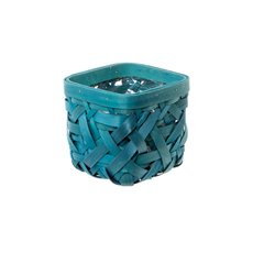 Planter Basket Fancy Pot with PVC Liner Aqua (13x13x12cmH)