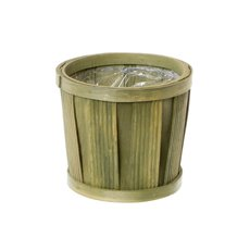 Planter Bamboo Stripe Pot with PVC Liner Green (15cmDx14cmH)