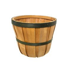 Two Tone Hamper Barrel Large Natural & Green (35cmDx30cmH)