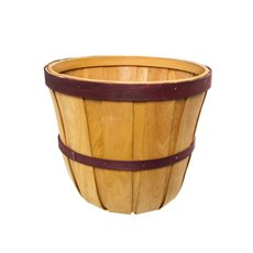 Two Tone Hamper Barrel Large Natural & Red (35cmDx30cmH)