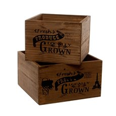 Wooden Planters Pot Covers - Fresh Produce Wooden Planter Square Set2 Brown (21x21x12cmH)