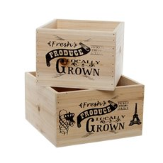 Wooden Planters Pot Covers - Fresh Produce Wooden Planter Square Set2 Natur (21x21X12cmH)