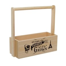 Wooden Planters Pot Covers - Fresh Produce Wooden Carry Tote Natural (27x11.5x10.5cmH/28)