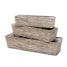 Wicker Flower Basket Rectangle Set of 3 Grey (66x22x15cmH)