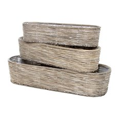 Wooden Flower Basket Oval Set of 3 Grey (66x22x15cmH)