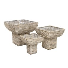 Large Wooden Urns Set of 3 Grey Wash (39cmDx36cmH)