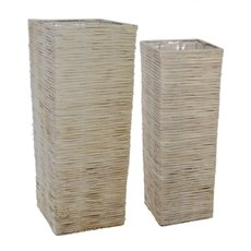 Large Wicker Planter Square Set of 2 Grey Wash (34cmDx85cmH)