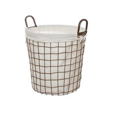 Metal Wire Storage Basket Fabric Liner Brown (33cmDx33cmH)