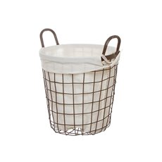 Metal Wire Storage Basket Fabric Liner Brown (28cmDx28cmH)