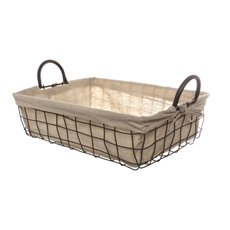 Metal Wire Tray with Fabric Liner Brown (40x30x12cmH)