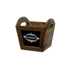 Chalkboard Wooden Planter Tapered Pot Brown (16x16cmH)