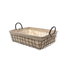 Metal Wire Tray with Fabric Liner Brown (35x25x10cmH)