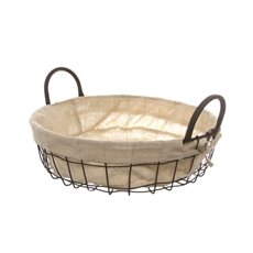 Metal Wire Tray with Fabric Liner Brown (35Dx10cmH)