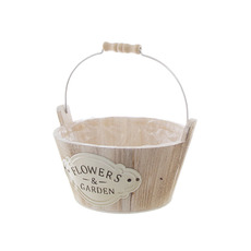 Wooden Planters Pot Covers - Nature Touch Wooden Bucket Planter (21cmDx11cmH)