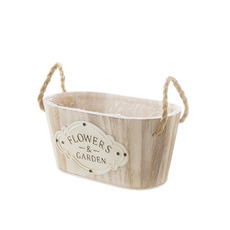 Wooden Planters Pot Covers - Nature Touch Wooden Oval Bucket Planter (24x13.5x11cmH)