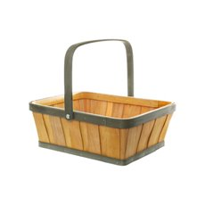 Two Tone Wood Basket Rectangle Natural & Brown (30x25x11cmH)