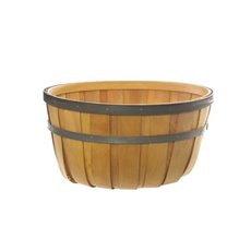 Hamper Tray & Gift Basket - Two Tone Wood Basket Round Natural & Brown (35x18cmH)