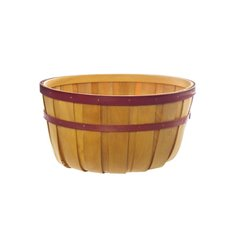 Two Tone Wood Basket Round Natural & Red (35x18cmH)