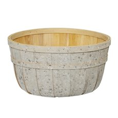 Hamper Tray & Gift Basket - Wood Basket Round White Wash (35x18cmH)