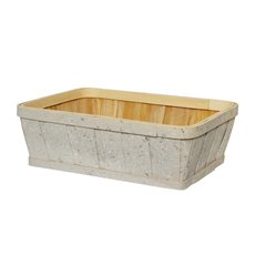 Hamper Tray & Gift Basket - Wood Tray Rectangle White Wash (35x27x11cmH)