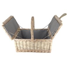 Picnic Baskets - Picnic Basket Hamper Folding Willow White Wash (42x28x20cmH)