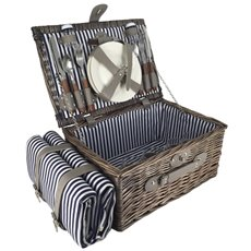 Picnic Baskets - Picnic Basket Chest Premium 4p Cutlery Brown (40x28x19cmH)