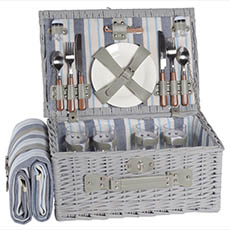 Picnic Baskets - 4 Person Premium Picnic Basket Chest Lt. Grey (44x30x20cmH)