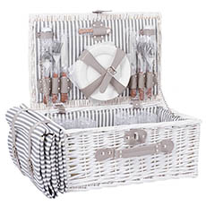Picnic Baskets - 4 Person Premium Picnic Basket Chest White (44x30x20cmH)