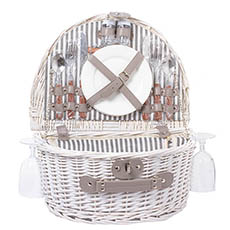 Picnic Baskets - 2 Person Picnic Basket White (40x30x19cmH)
