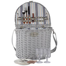 Picnic Baskets - 2 Person Picnic Basket Light Grey (38x30x52cmH)